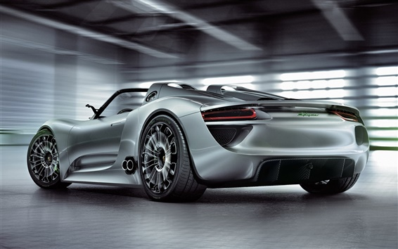 Wallpaper Porsche 918 Spyder concept supercar back view