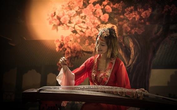 Wallpaper Red dress girl, asian, music, guzheng