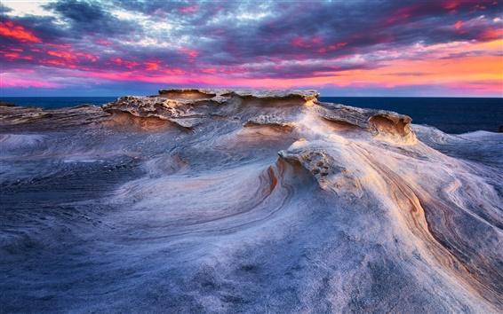 Обои Скалы, фиолетовый небо, берег, море, закат
