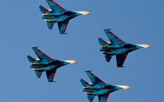 Обои Русские Витязи, полет, истребитель