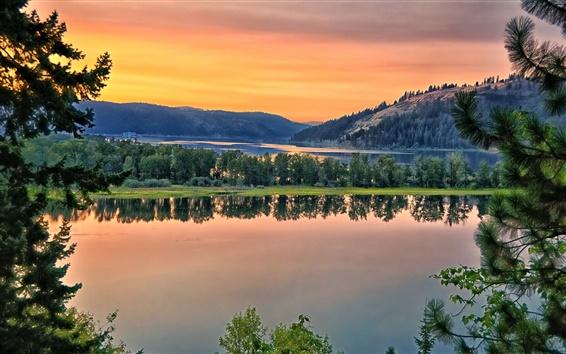 Wallpaper Saint Joe River, river, hills, water reflection, trees, dusk