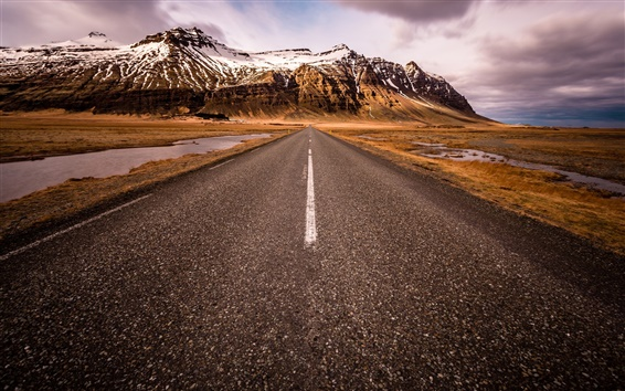 Wallpaper Scandinavia, South Iceland, road, mountains