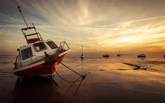 Wallpaper Sea, boat, low tide, sunset, coast