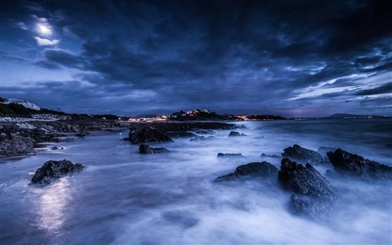 Wallpaper Sea, night, moon, clouds, rocks, shore, lights, blue