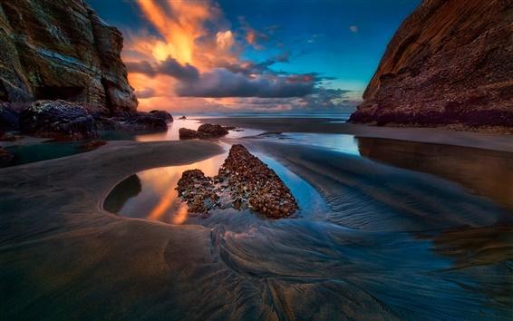 Wallpaper Sea, rocks, sky, clouds, sunset