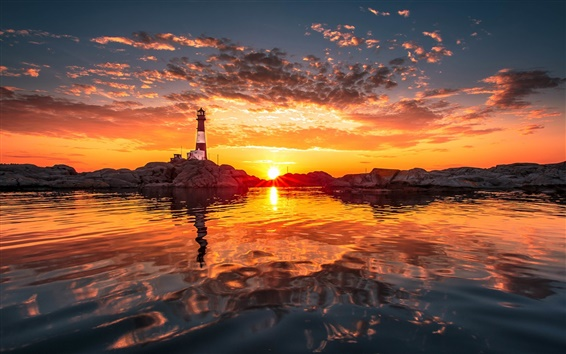 Wallpaper Shore, lighthouse, sunset, clouds, water reflection, red sky