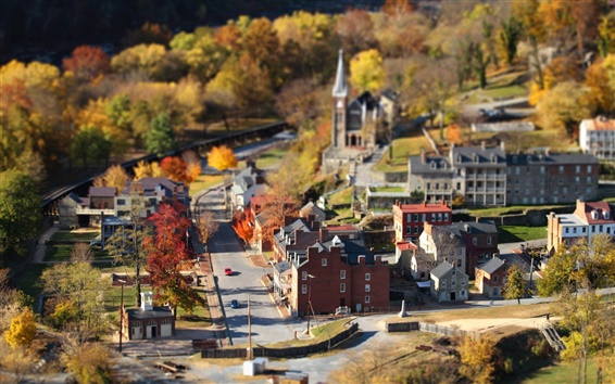 Wallpaper Small town, autumn, houses, road, trees, tilt-shift photography