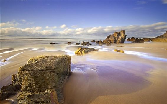 Fond d'écran Espagne, Asturies, plage, mer, les rochers
