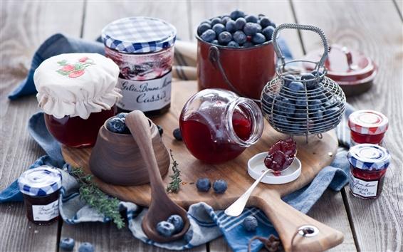 Wallpaper Still life, blueberries, jam, wood board