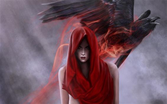 Обои Красный платок фантазия девушка