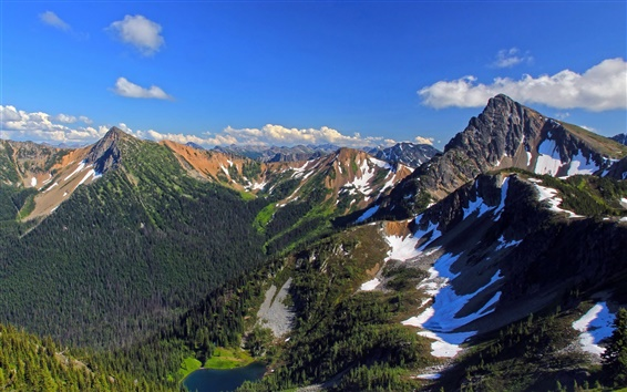 壁紙 アメリカ、山、湖、木、雪、空