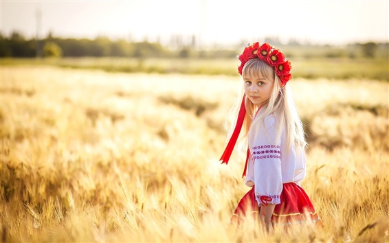 Fond d'écran Ukraine, mignonne petite fille, champ de blé