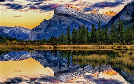 Papéis de Parede Vermillion Lagos, Parque Nacional de Banff, Alberta, Canadá, árvores, montanhas