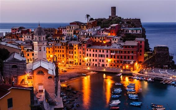 Wallpaper Vernazza, Italy, Cinque Terre, boats, buildings, night