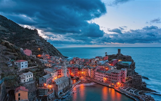Wallpaper Vernazza, Italy coast, houses, night, lights