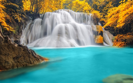 Wallpaper Waterfall, blue water, river, autumn, trees
