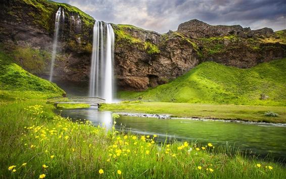 Wallpaper Waterfall, river, summer, nature landscape