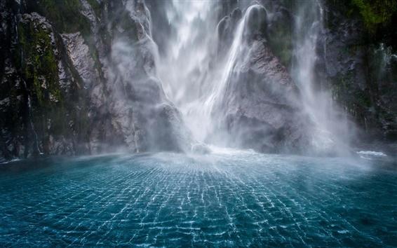 Wallpaper Waterfalls, rocks, water, fog