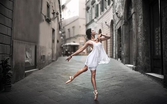 Wallpaper White dress girl dance in the street
