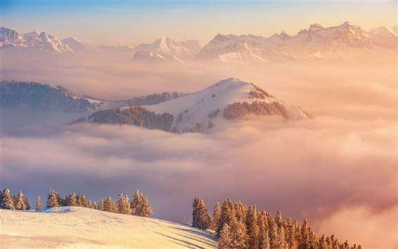 Wallpaper Winter, mountains, clouds, top view, Switzerland