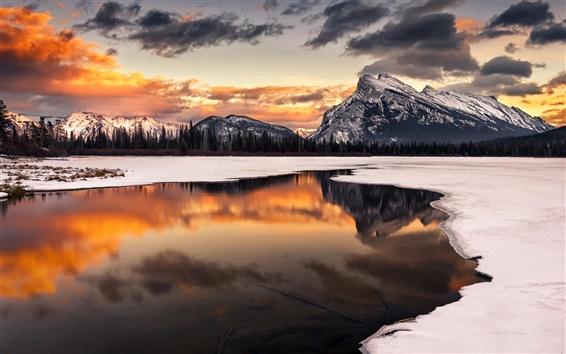 Wallpaper Winter, snow, sunset, mountain, lake, reflection, trees