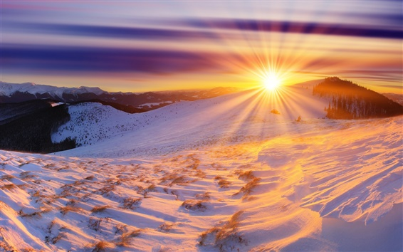 Fond d'écran Hiver, le lever du soleil, les montagnes, la neige, le soleil