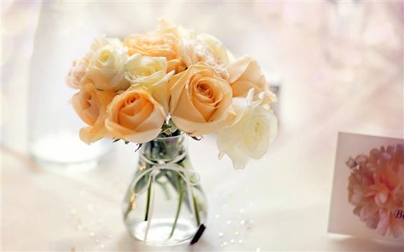 Wallpaper Yellow flowers, rose, vase, bouquet