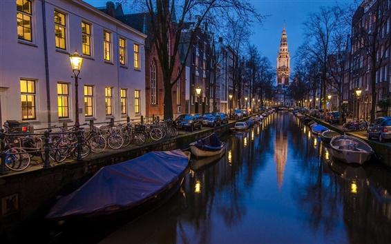 배경 화면 암스테르담, 네덜란드, 하우스, 보트, 강, 밤