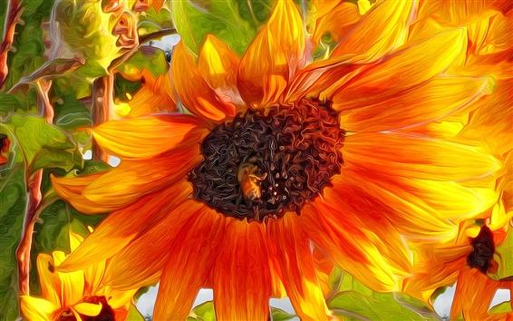 Wallpaper Art design, sunflower, insect, bee