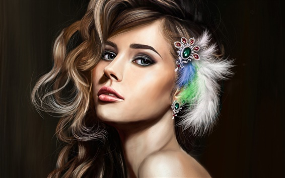 Wallpaper Art fantasy girl, beautiful face, makeup, hair, feathers, jewelry