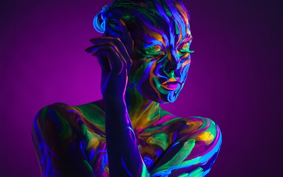 Wallpaper Art style, colorful paint, girl, eyelashes