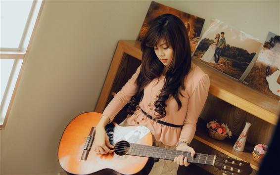 Wallpaper Asian girl, guitar, room, music