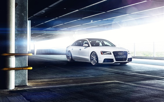 Wallpaper Audi A8 L white car, parking, glare