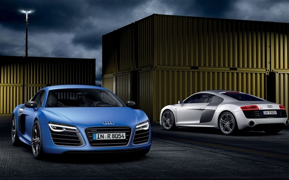 Wallpaper Audi R8 V10 B10, blue, silver, supercar