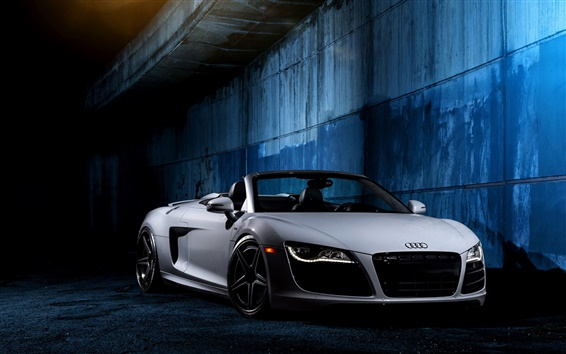 Wallpaper Audi R8 V10 white car front view