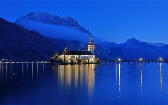 Обои Австрия, Гмунден, озеро Traunsee, горы, дом, синий, небо, ночь