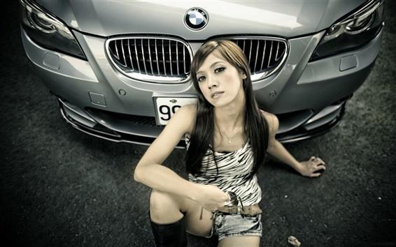 Wallpaper BMW 5 series car, asian girl