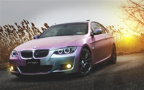 Wallpaper BMW E92 M3 pink car at sunset