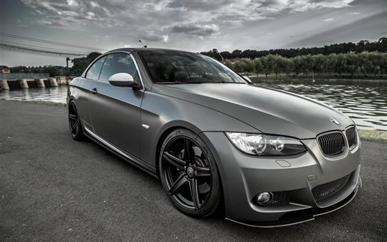 Обои BMW E93 Coupe серый автомобиль