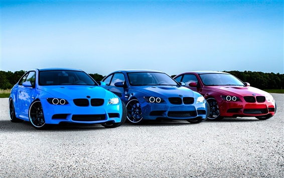 Wallpaper BMW M3 E92, red blue cars