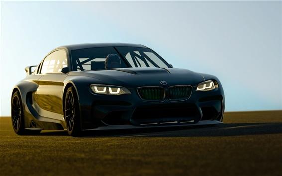 Fondos de pantalla BMW Vista delantera del coche negro, luces