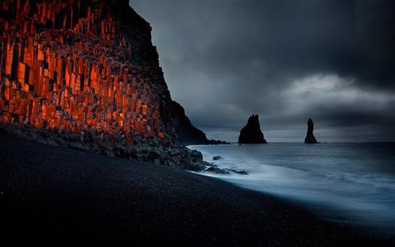 Wallpaper Beach, rock, coast, dusk