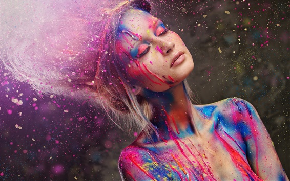 Wallpaper Beautiful girl, fashion style, paint, colorful