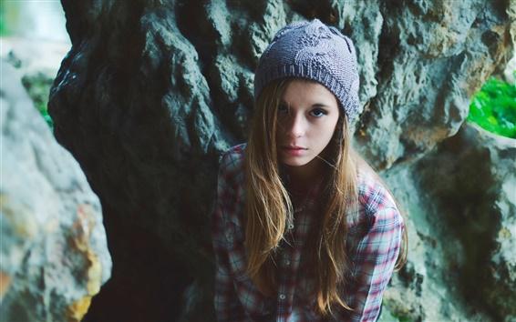 Fond d'écran Belle fille, chapeau, cheveux longs, chemise