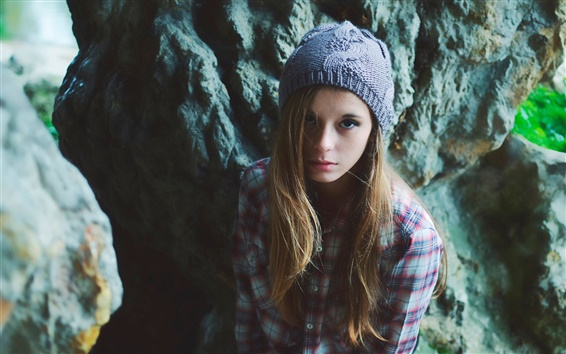 Wallpaper Beautiful girl, hat, long hair, shirt