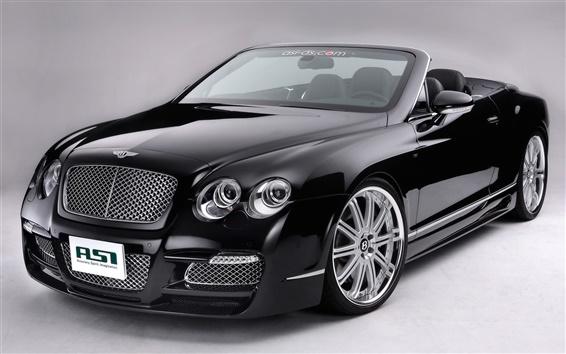 Обои Bentley с откидным верхом, черный автомобиль