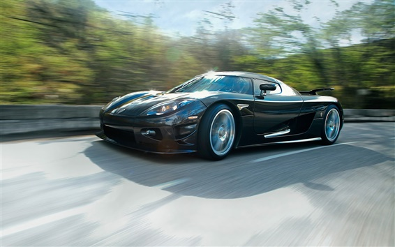 Wallpaper Black Koenigsegg supercar, speed, road
