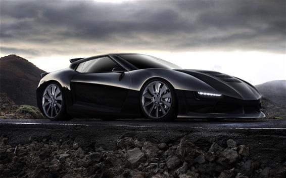 Fond d'écran Concept de voiture noire, voiture de course, montagne, crépuscule