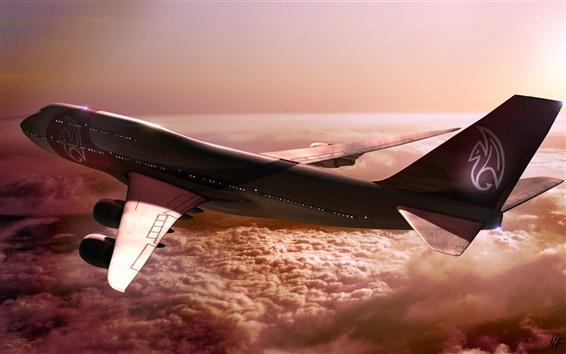 Papéis de Parede Boeing 747 de voo da aeronave, nuvens, sol