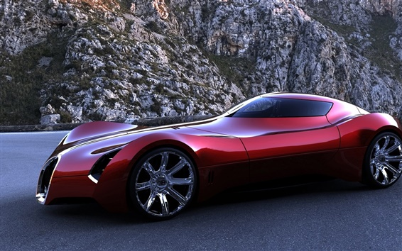 Wallpaper Bugatti Aerolithe concept red supercar